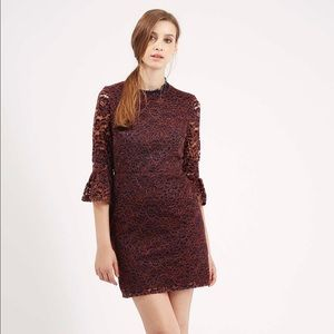 NWT🌟Topshop Bell Sleeve Floral Lace Dress.Size 4.